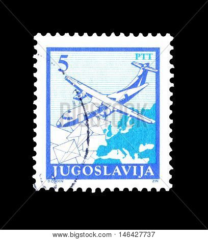 YUGOSLAVIA - CIRCA 1990 : Cancelled postage stamp printed by Yugoslavia, that shows Airplane, letters and map of Europe.