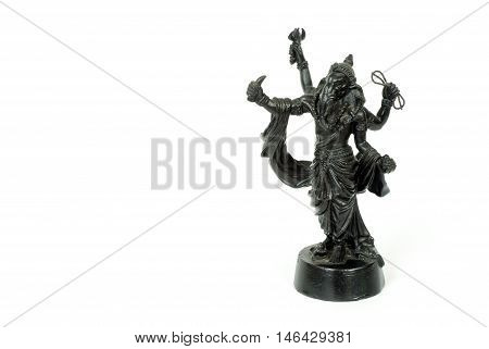 Isolated of Hinduism God Ganesh Metal statue