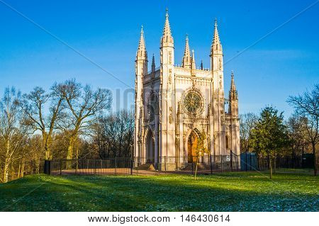 Beautiful Gothic chapel in the Park of Alexandria, the Church of Alexander Nevsky.Russia.Saint-Petersburg.Peterhof.Autumn.
