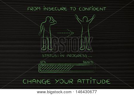 From Insecure To Confident: Man Changing Attitude, Progress Bar