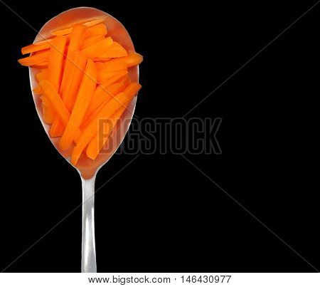 Beautiful Close up of chopped carrots On Black