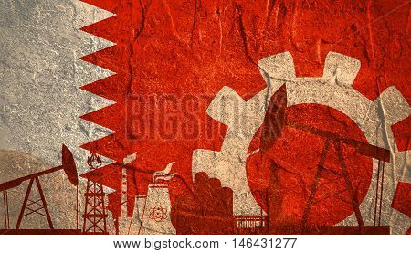 Energy and Power icons set with Bahrain flag. Sustainable energy generation and heavy industry.