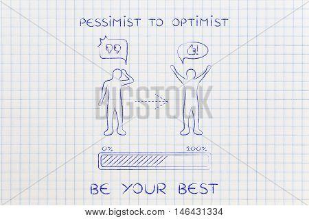 Pessimist To Optimist: Changing Attitude, Progress Bar & Comic Bubble