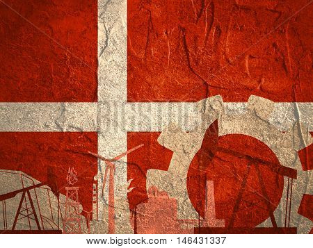 Energy and Power icons set with Denmark flag. Sustainable energy generation and heavy industry.