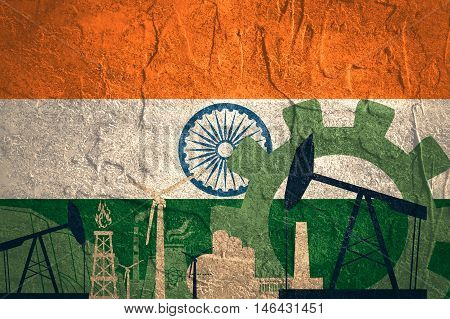 Energy and Power icons set with India flag. Sustainable energy generation and heavy industry.