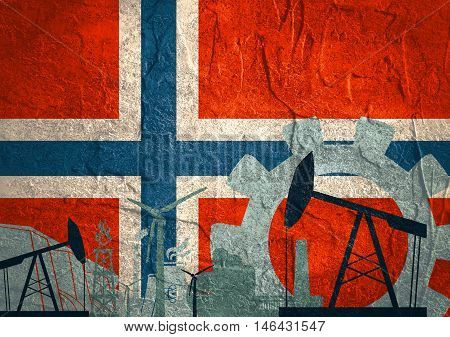 Energy and Power icons set with Norway flag. Sustainable energy generation and heavy industry.