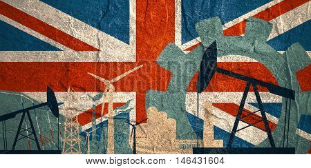 Energy and Power icons set with Britain flag. Sustainable energy generation and heavy industry.