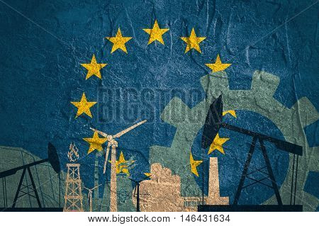 Energy and Power icons set with European Union flag. Sustainable energy generation and heavy industry.