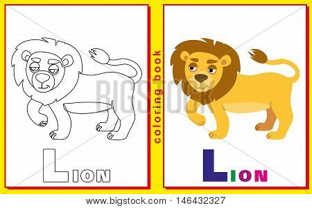 Coloring Book for Kids with letters and words. Litter L. lion. vector image.