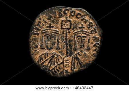 Ancient Copper Byzantine Coin With Portraits
