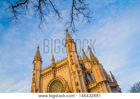 Gothic Chapel In The Park Of Alexandria, The Church Of Alexander Nevsky.russia.saint-petersburg.pete