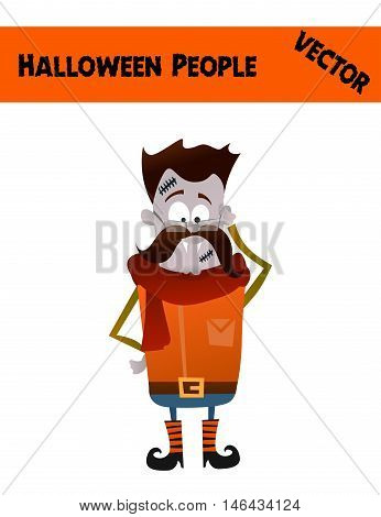 Isolated Festive Orange October Vector Halloween Guy Illustration with a Man Wearing Halloween Zombie Costume: Funny Boots, Red Scarf, Mustache, Blue Skin and Scars