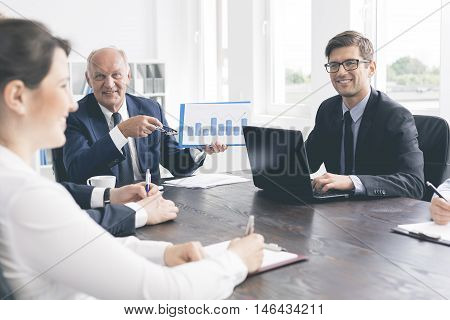 Positive Office Meeting At A Massive Table