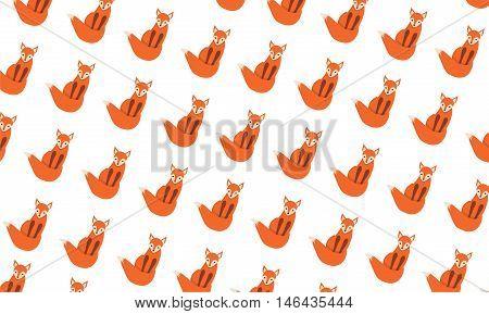 Pattern with pretty fox on white backgraund