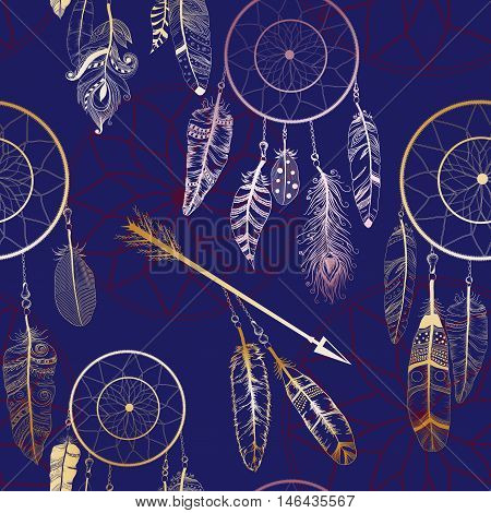 Seamless Pattern With Native American Indian Dream Catcher