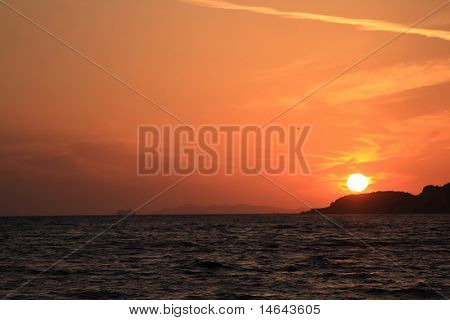 Sunset over Parga in Epirus Greece