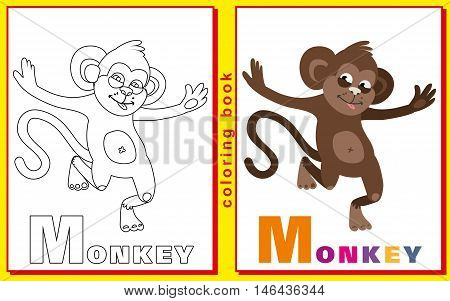 Coloring Book for Kids with letters and words. Litter M. monkey. vector image.