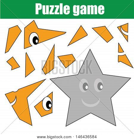 Educational puzzle game for children. Kids printable activity sheet with star shape character, restore the picture with mosaic pieces