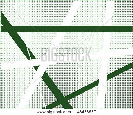 A green halftone background with black and white criss cross items.