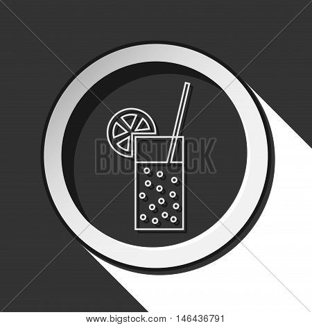 black icon - glass carbonated drink straw and citrus with white stylized shadow