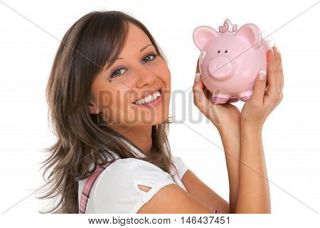 Young woman holding pink pig money-box - Piggy Bank. Isolated on white background