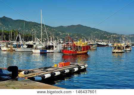 Boats near the port of Santa Margherita Ligure, which is popular touristic destination in summer