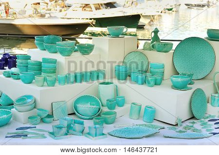 Italian Ceramic tableware celadon painted in seastyle