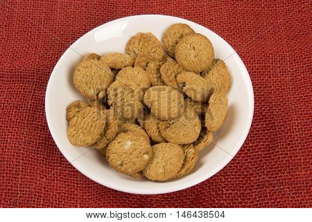 Group Of Cookies On The Plate. Integral Cookies.