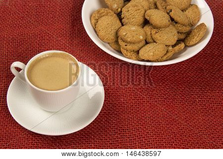 Selection Of Whole Grain Crackers With Coffee. Integral Cookies.