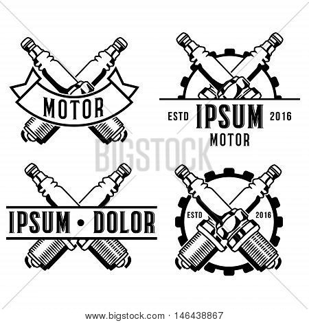 car spark plug emblem, logotemplate collection isolated on white background