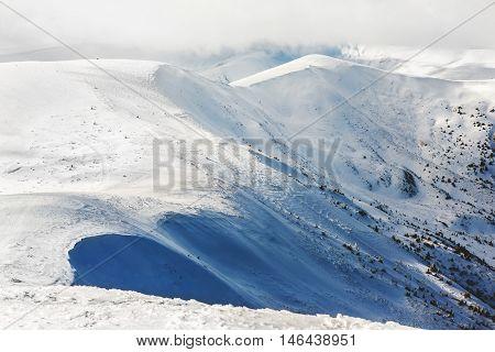 White peaks mountains of Dragobrat.The west Ukraine.