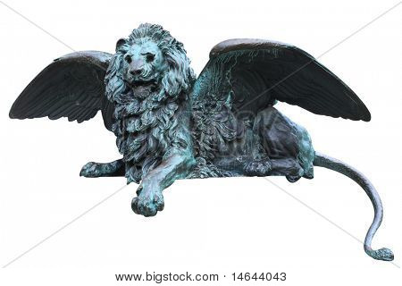 Close-up of bronze lion statue turning green from oxidation in Venice, Italy.