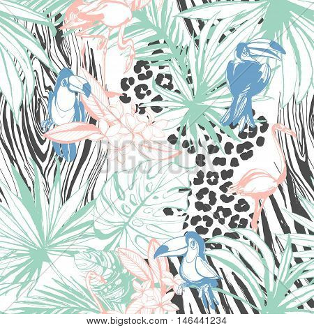 Vector illustration Tropical floral summer seamless color background pattern with palm beach leaves flowers flamingo toucan birds and leopard zebra prints. Hand drawn ink blots grunge flat style design.