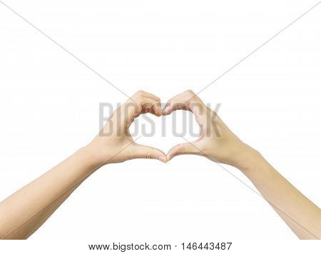 Closeup heart shape by two woman hand isolated on white background with clipping path