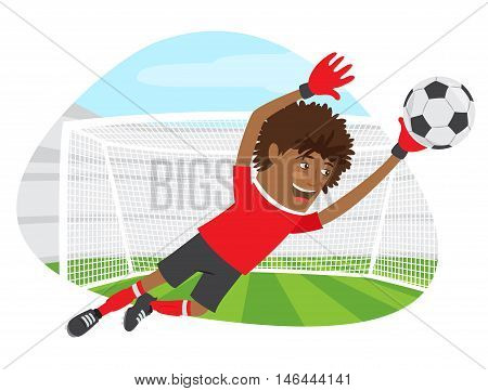 Funny African American Soccer Football Player Goalkeeper Wearing Red T-shirt Running Jumping For Bal