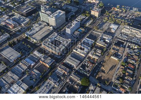 Los Angeles, California, USA - August 16, 2016:  Afternoon aerial view of downtown San Pedro in the City of Los Angeles.