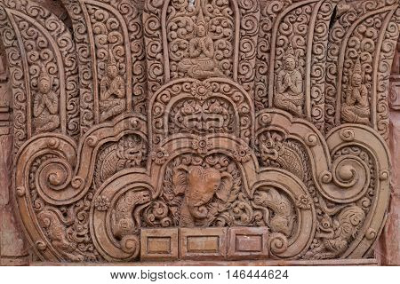 Sculptures carved clay background close up Thailand