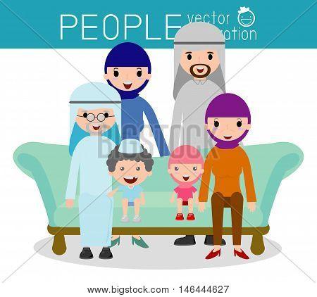 cute arabian family, Family group portrait parents grandparents and children, Happy cartoon family,Vector Illustration