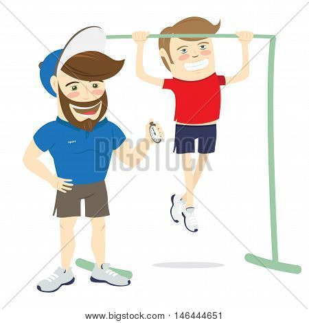 Bearded Fitness Personal Trainer Instructor And Funny Sportsman Doing Pull-ups Exercises On Horizont
