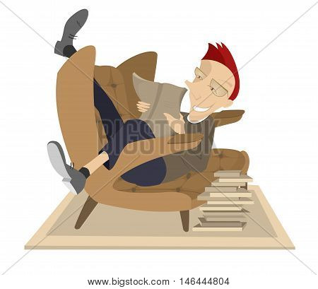 Man reading a book. Smiling man is laying in the armchair and reading a book