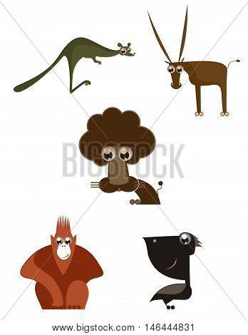 Cartoon funny animals. Cartoon funny animals set for design
