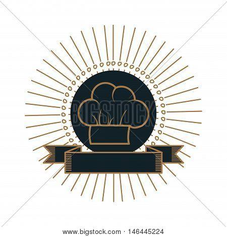 chef hat. restaurant food symbol with label emblem. vector illustration