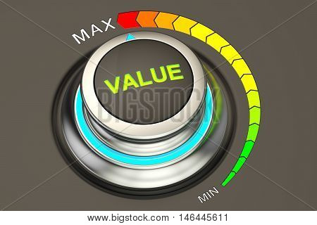 value concept max level of value. 3D rendering