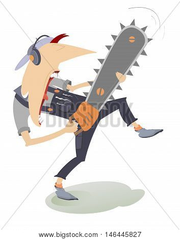 Angry worker holding a chainsaw vector illustration