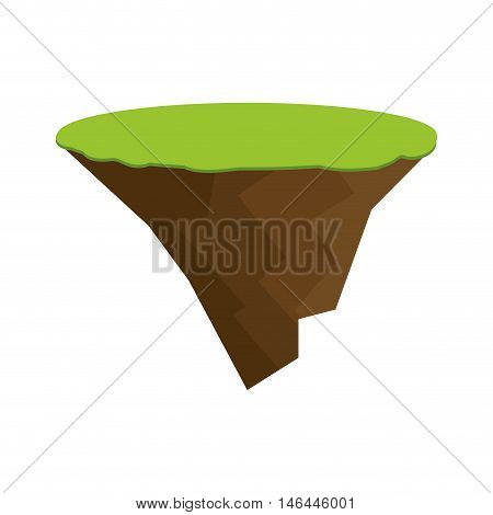 flying island with green natural grass. field land isle. vector illustration