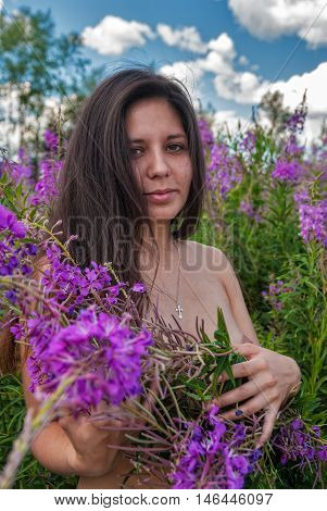 Attractive topless woman relaxes with flowers on fireweed meadow