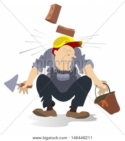 Construction industry accident. Bricks falling down on the work helmet of the man