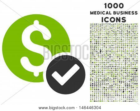 Approved Payment vector bicolor icon with 1000 medical business icons. Set style is flat pictograms, eco green and gray colors, white background.