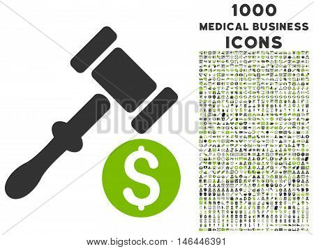 Auction vector bicolor icon with 1000 medical business icons. Set style is flat pictograms, eco green and gray colors, white background.