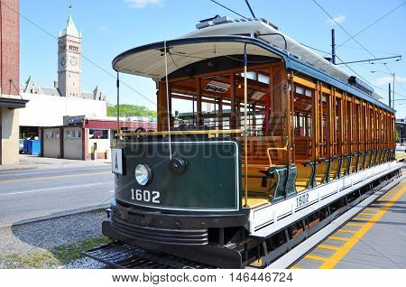 Antique Trolley in old downtown Lowell, Massachusetts, USA.